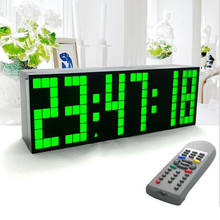 Large Big Jumbo LED Clock Display Table Desk Wall Alarm Remote Control Calendar Digital Timer LED Watch Blue Clock