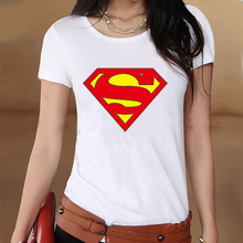 Superhero Superman Logo Summer White Slim Style Graphic Print T shirt Women Tshirt Swag Clothes Tee Top Gift Printed UK Music(China)