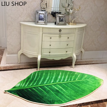 LIU Trend creative anti slip carpet living room kitchen bedroom bed personality sofa 3D print mat simulation leaves ground rug