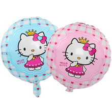 18 Inch Pink Blue Hello Kitty Princess Crown Balloon with Heart Printed Foil Ballons Wedding Birthday Party Decoration Girls Toy(China)