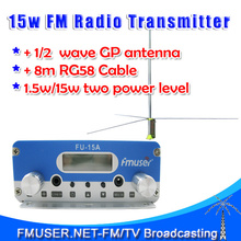 Freeshipping FU-15A 15W stereo PLL Transmitter FM broadcaster + 1/2 wave gp antenna KIT(China)