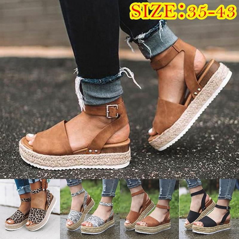 Women Ladies Platform Cork Heel Sandals Espadrille Ankle Strap Beach Shoes Sizes