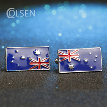 2017 Australia Natural Flag Cuff links Mens Jewelry Designer Luxury Australian Patriots jewelry cufflinks worn by football fans