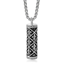 Retro Punk High Polished Silver Tone Stainless Steel Fleur de Lis Cylinder Pendant Necklace 60CM SS Chain(China)