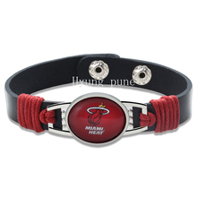 6pcs/lot! Miami Basketball Genuine Leather Adjustable Bracelet Wristband Cuff 12mm Black Leather Snap Button Charm Jewelry