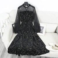 XSJPZH New Autumn Winter Long Mesh Spliced Dress Women Fashion Puff Sleeve  Dresses Gilding Stars High fc8694e1dc1b