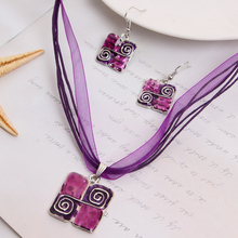 ZOSHI Summer Style Colorful Enamel Jewelry Sets Square Geometry Leather Pensant Choker Necklace Earrings Sets For Women(China)