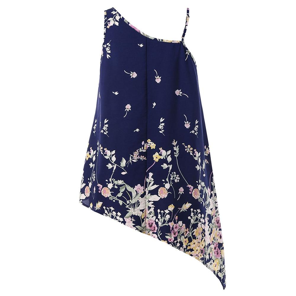 d8520d774b5 Plus Size Women Tiny Floral Tank Top 5XL Large Size Asymmetric One-Shoulder  Vest Top 2018 Summer Lady Camisole Casual Cami Tops