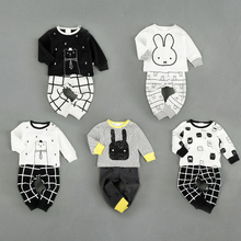 High Waist Pants + T shirt Baby Boy Clothes Set Baby Girl Clothing Set Infant Clothing Toddler Outfit 2017 New Fashion Cotton