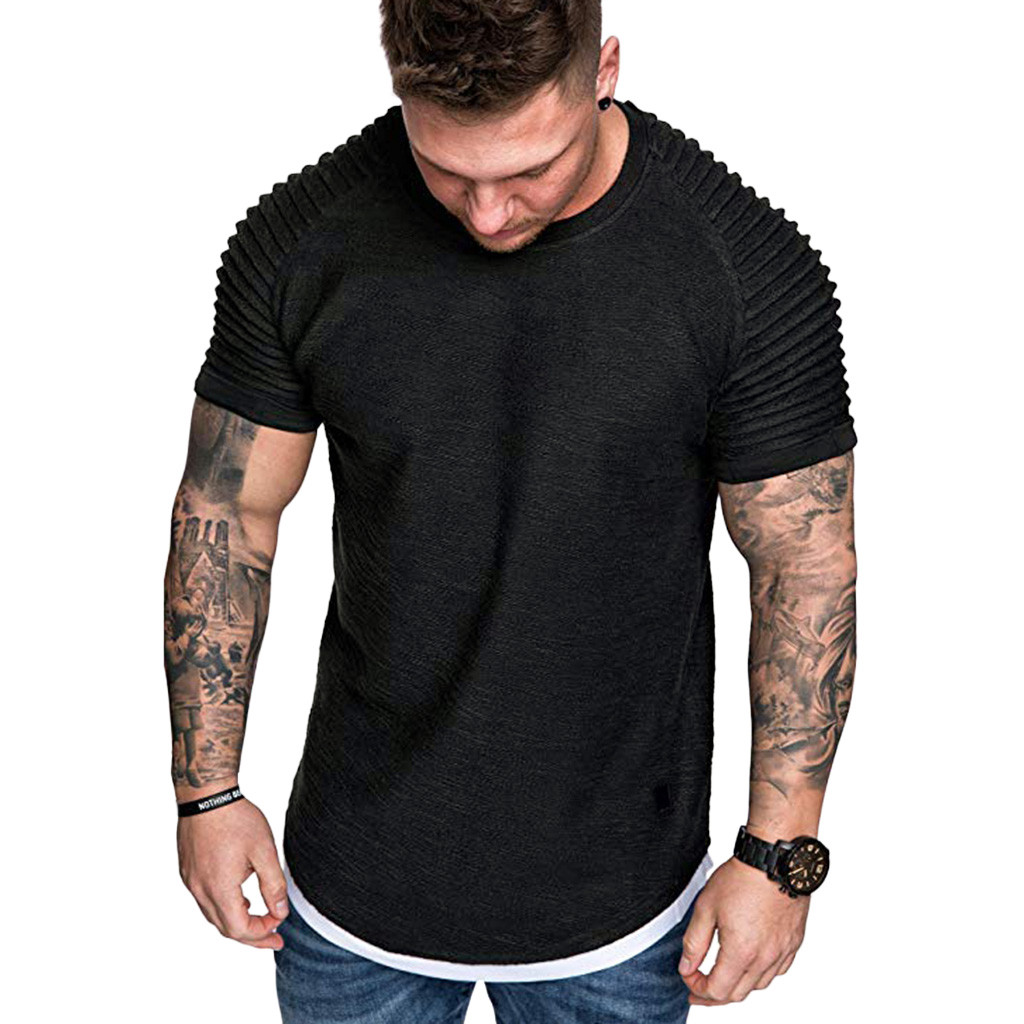 T Shirts Men's Summer Pleats Slim Fit Raglan Short Sleeve Pattern Top Blouse Casual Men Fashion High Quality c0509