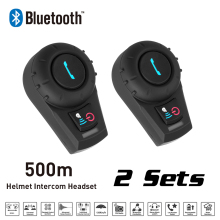 Motorcycle Interphone 2 Sets 500M BT Bluetooth FM Radio Motorcycle Helmet Intercom Headset intercomunicador for Phone/GPS/MP3(China)