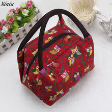 2017 Women Lunch Bag Owl Thermal Insulated Tote Picnic Lunch Cool Bag Cooler Box Handbag Pouch lunch box bolsa termica(China)