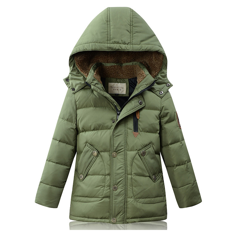 Fashion Winter ChildrenS Thick Down Jacket Boys Down Coat Kids 90% Duck Down Jacket Warm Coat Casual Lamb plush collar Hooded<br>