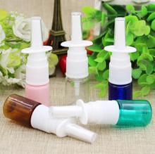 Free Shipping 10pcs 5ml colorful PET Empty Fine Nasal Spray Mist Plastic Bottle, Cosmetic Nose Spray Bottle(China)