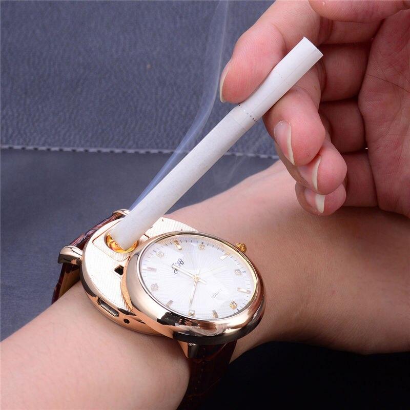 USB Lighter Watches Casual Relojes de hombre Windproof Flameless Rechargeable Cigarette Lighter Mens Quartz Wristwatches 5052<br>