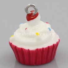 Buy Doreen Box Lovely Acrylic Charm Pendants Cupcake Enamel White&Fuchsia W/Dot Painted 18.5x15.5mm,10PCs, B24891 for $1.58 in AliExpress store
