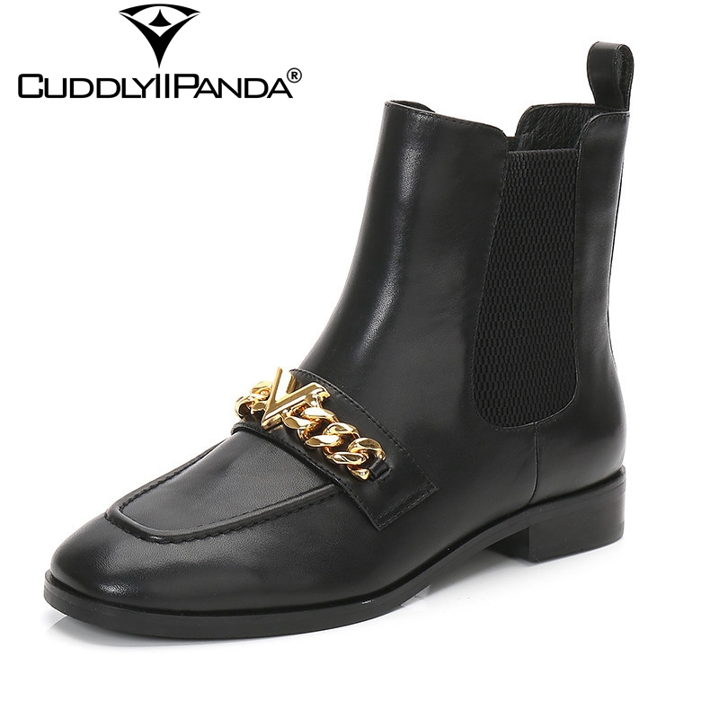 CuddlyIIPanda 2018 Spring New Square Toe Women Martin Boots Metal Chains Chelsea Boots Luxury Design Ankle Boots Letter V Botas<br>