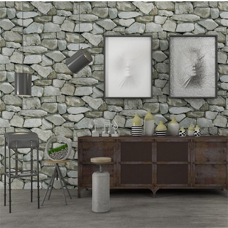 Beibehang Retro 3d Stereo Wallpaper Rock Wallpaper Imitation Stone Striped Restaurant Living Room Background 3D Wallpaper<br>