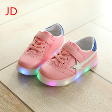 The Stars Fall on Leisure Sports Shoes Boy Girl Luminous White Shoe LED Flash Flat Shoes
