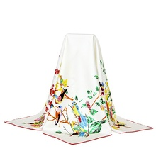 Birds & Floral Print 100% Silk Twill Scarf Women's Square Silk Scarves Wraps Shawl 90x90cm Spring Clothing Accessory