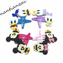 Large discount 2PCS Hairpins Donald Daisy Mickey Minnie Girls Cartoon Hair Clips Hair Accessories Kids Gift DIY Hair pins