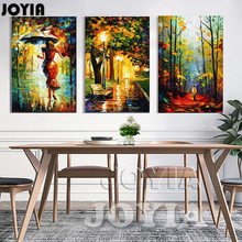 Canvas Art Abstract Oil Painting On Canvas 3 Piece Street Light Tree Figure Walk Wall Pictures For Home Living Room No Frame