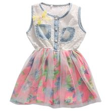Infantil Cute Lace Tulle Toddler Kids Baby Girls Summer Denim Floral Dress Fancy Party Pageant Dress