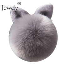 Jewdy Bunny Key Chain Pom Pom Key Rings Rabbit Fur Ball KeyChain Porte Clef Pompom de fourrure Pompon Women Bag Charms Jewelry(China)