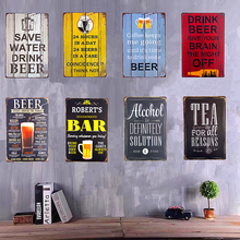Save Water Drink Beer Metal Tin Signs Bar Pub Art Poster Home Restaurant Coffee Cafe Wall Stickers Decor(China)
