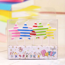 Wholesale new premium birthday candles five combination printing fringe star Korean cake decorations(China)