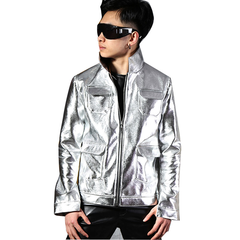 Custom Made Men Silver PU Leather Jacket Male Fashion Slim Fit Coat Nightclub Stage Singer Dancer DJ Stage Costumes