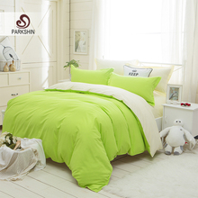 ParkShin Plain Double Bedding Set Green And Yellow Solid Color Duvet Cover Set Soft Polyester Flat Sheet 3Pcs or 4Pcs