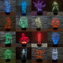Star War Super Hero 3D LED Table Lamp Toys Home Decoration Change 7 Colors Light Batman Iron Man Deadpool Ninja SuperMan
