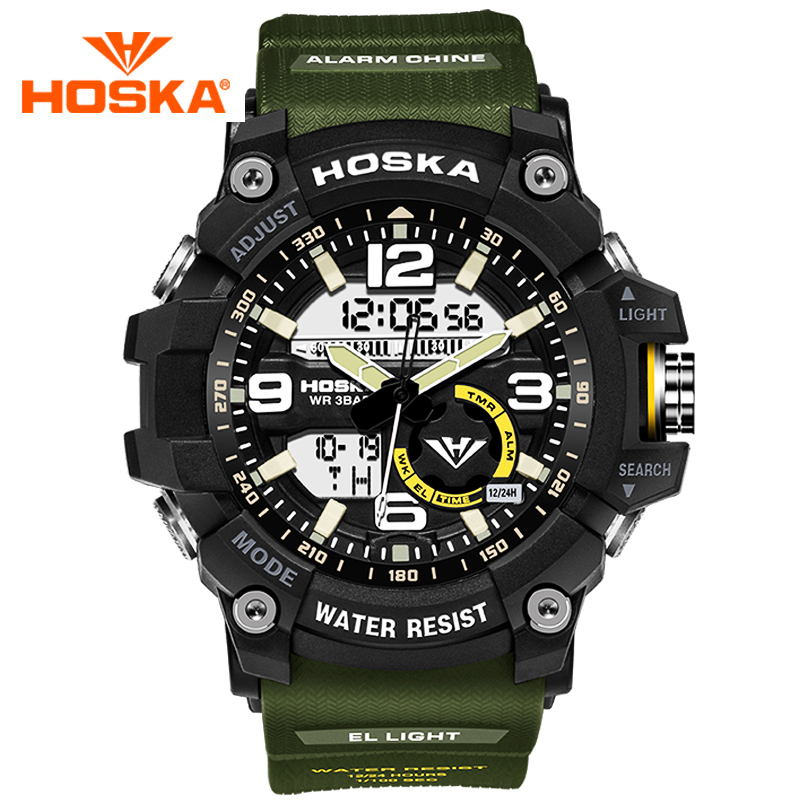 HOSKA Double Movement Sport Mens Watches LED Plastic Case Strap Watch Waterproof Wristwatches with Alarm For Men <br>