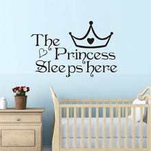 The Princess Sleep Here Wall Stickers For Kids Room Wall Decals Home Decoration Accessories Wall Art Quote Bedroom Wallpaper