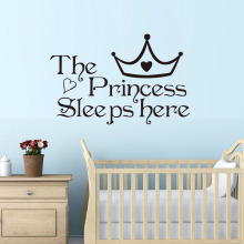 The Princess Sleep Here Wall Stickers For Kids Room Wall Decals Home Decoration Accessories Wall Art Quote Bedroom Wallpaper(China)