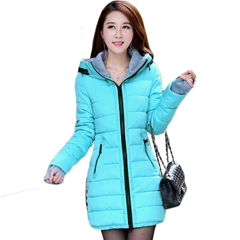 2016 Top Quality Winter women Jacket Coat Middle-Long Hooded Thicken Slim  Coat Women Warm Parkas Casaco G0587Îäåæäà è àêñåññóàðû<br><br>