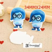 50pcs/lot 34MMX24MM NEW 3D Inside Out Cartoon Character Planar Resin for Hair Bows Resin Flatback DIY Holiday Decorations DF-304(China)