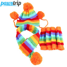 Winter Warm 3 Times Fashion Stripe Knitted Pet Dog Hat+Scarf+Socks Costume Clothing XS/S/M/L(China)