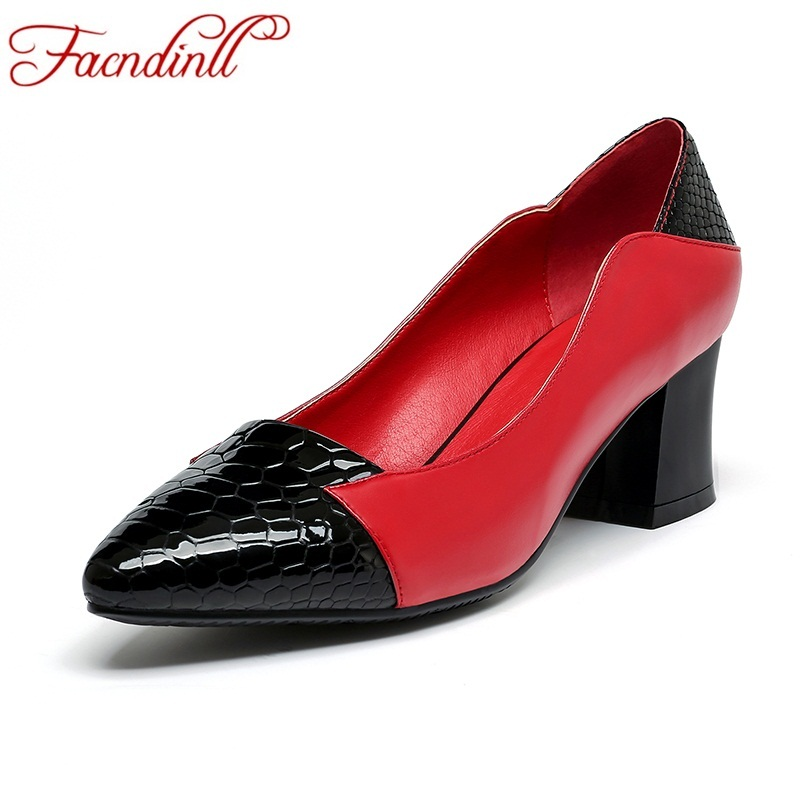 FACNDINLL new 2018 fashion mixed color genuine leather dress shoes women pumps shallow pumps high heels casual office lady shoes<br>