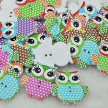 100PCS Mix Color Baby Owl Birds Button Carton Baby Sewing Craft Lots WB84