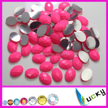 1440PCS 13*18mm oval shape neon pink color hotfix epoxy flatback pearl rhinestone perfect look