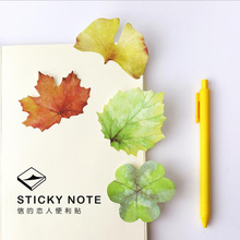 A36 2X Fresh Leaf Style Memo Pads Sticky Notes Stick Paper Decorative Stickers Bookmarks Stationery Student School Office Supply(China)