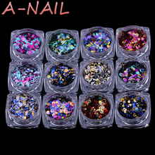 12jars/set Laser color Nail Art Glitter ROUND Shapes Confetti Sequins Acrylic Tips UV Gel BL Style Sale Shiny Ultrathin Sequins(China)
