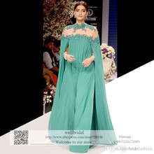 2016 Gorgeous Bright Green Sonam Kapoor Full Sleeves indian Style Zipper Appliques Evening Dresses Chiffon Prom Pageant Dress