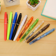 transparent Classic rotation design Stationary School fashion golden plastic Fountain Pen(China)