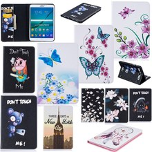 For Samsung Galaxy Tab S2 8.0 SM-T710 /T715 Case Kids Butterfly Flower Bear Cartoon Wallet  PU Leather Back Silicon Tablet Cover