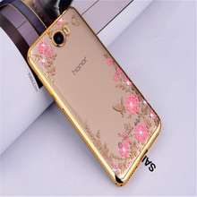 "Luxury Diamond Flowers Secret Garden Soft TPU Phone Case For Huawei Honor 5A LYO-L21 Case Russia Version Y5 ii 5.0"" plating(China)"