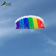Outdoor High Quality Dual Line1.4m Parafoil Kite With kite handle Power Braid Sailing Rainbow Sports Beach good Flying(China)