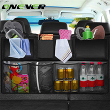 Oxford 600D Car Trunk Organizer Water Bottle Storage Bag Mesh Nets Double Thickening Universal Size Back Seat Hanging Pocket(China)